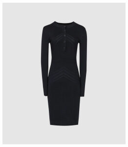 Reiss Regan - Knitted Bodycon Dress in Navy, Womens, Size XL