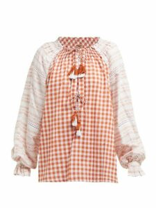 Dodo Bar Or - Clarissa Gingham Cotton Blouse - Womens - Tan Multi