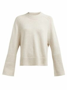 Allude - Ribbed Cuff Round Neck Cashmere Sweater - Womens - Beige