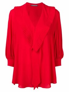 ALEXANDER MCQUEEN pleated v-neck blouse - Red