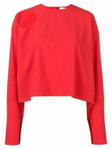 A.W.A.K.E. Mode shoulder cut-out detail blouse - Red