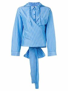 SJYP hooded striped blouse - Blue