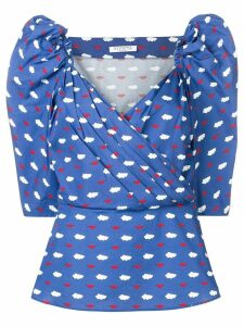 Vivetta clouds and lips print blouse - Blue