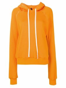 UNRAVEL PROJECT cut-out shoulder hoodie - ORANGE