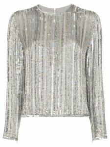 Ashish Long sleeve sequin top - Silver