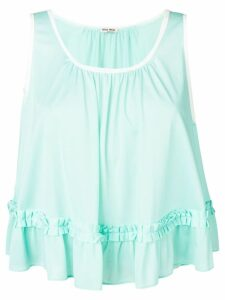 Miu Miu ruffle detail tank top - Blue