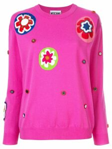 Moschino floral appliqué sweater - Pink