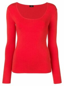 Joseph deep U-neck jumper - Red