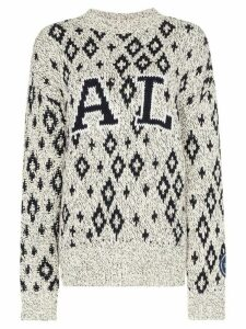 Calvin Klein 205W39nyc geometric print knitted jumper - White