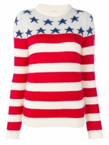 Saint Laurent stars striped jumper - White
