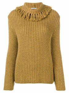 Bottega Veneta fringed collar cashmere jumper - Yellow