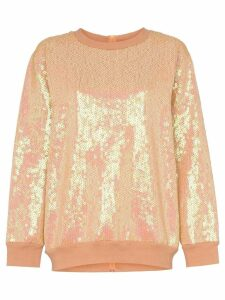 Ashish Sequin rear zip cotton blend sweatshirt - NEUTRALS