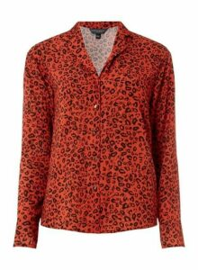 Womens **Tall Red Animal Print Pyjama Shirt, Red