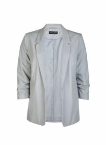 Womens Grey Ruched Sleeve Jacket, Grey