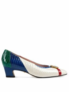 Gucci Snakeskin pump with crystal Double G - White