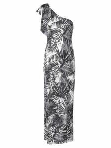 Fleur Du Mal palms print single-shoulder dress - Neutrals