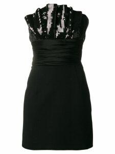 Saint Laurent ruffled bustier mini dress - Black