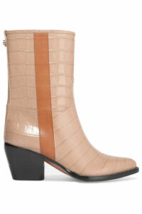 Chloé - Vinny Croc-effect Leather Ankle Boots - Neutral