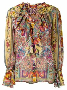 Etro printed ruffled blouse - Yellow