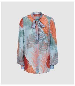Reiss Asta - Feather Printed Blouse in Multi, Womens, Size 14