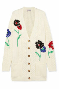 REDValentino - Embroidered Cable-knit Cotton Cardigan - Ivory