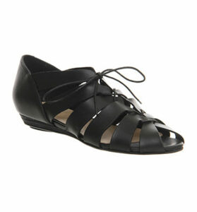 Office Lingo Lace Up Sandals BLACK NUBUCK