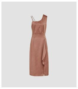 Reiss Sara - One Shoulder Cocktail Dress in Bronze, Womens, Size 16
