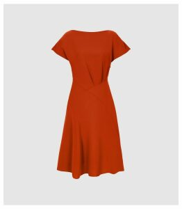 Reiss Victoria - Capped Sleeve Midi Dress in Red, Womens, Size 16