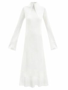 Saint Laurent - Camouflage Print Cotton Blend Longline Shorts - Womens - Green Print