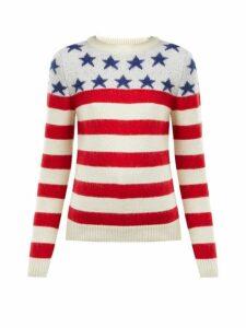 Saint Laurent - American Flag Intarsia Wool Blend Sweater - Womens - Red Multi