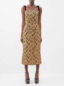 Dundas - Sequinned Satin Trimmed Tuxedo Mini Dress - Womens - Dark Blue