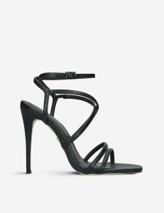 Alexis reptile-embosssed faux-leather sandals