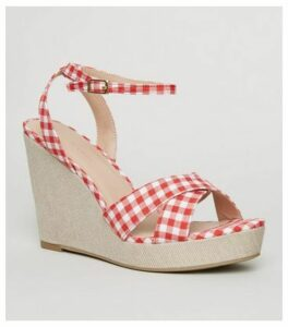 Red Gingham Cross Strap Wedges New Look