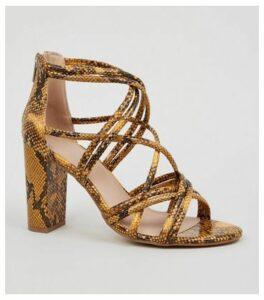 Yellow Faux Snake Block Heel Sandals New Look