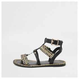 River Island Womens Black woven detail caged flat sandal