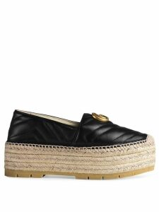 Gucci Leather espadrille with Double G - Black