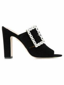 Paris Texas crystal-embellished mules - Black