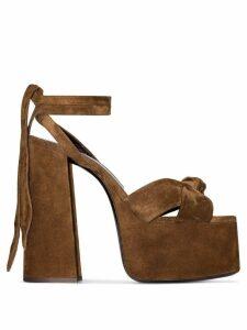 Saint Laurent brown Paige 155 suede platform sandals