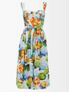 Shrimps - Lace Insert Gingham Cotton Dress - Womens - Black White