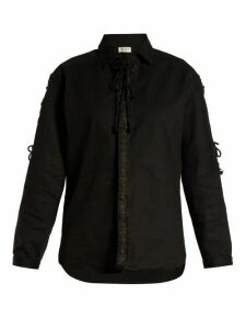 Saint Laurent - Lace Up Cotton Blend Twill Shirt - Womens - Black