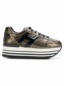 Hogan striped print sneakers - Metallic