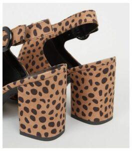 Wide Fit Brown Animal Print Slingback Heels New Look