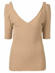 Muller Of Yoshiokubo V-neck fitted top - Brown
