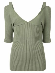 Muller Of Yoshiokubo V-neck ribbed top - Green