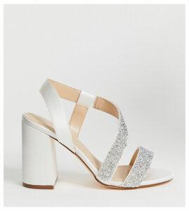London Rebel wide fit bridal barely there embellished block heel sandals-Cream