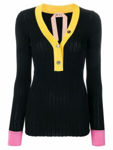 Nº21 colour block sweater - Black