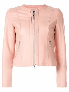 Loveless zipped leather jacket - PINK