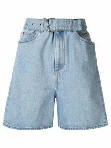 MSGM embroidered denim shorts - Blue