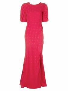 Saloni polka dot evening dress - PINK