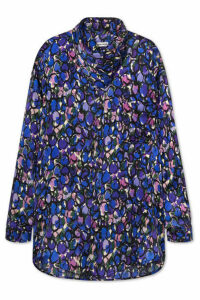 Balenciaga - Bow-detailed Printed Silk-jacquard Blouse - Blue